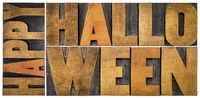 Happy Halloween banner in wood type