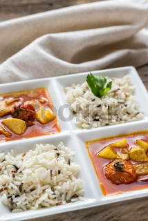 Thai yellow curry with chicken and rice