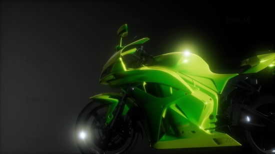 moto sport bike in dark studio with bright lights