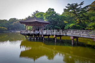 Ukimido Pavillion on water in Nara park, Japan