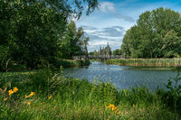 scenic panorama of a lake with reeds and plants crossed by a wooden bridge