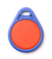 Front view of blue plastic RFID key fob