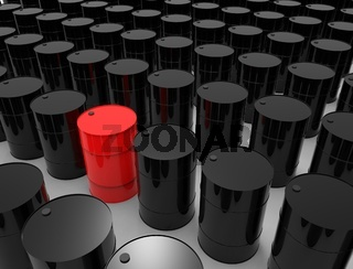 3D rendering of oil barrels isolated in white studio background.
