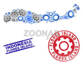 Industrial Collage Vector Flores Island of Indonesia Map and Grunge Stamps