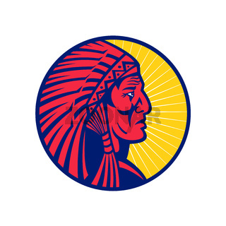Old Native American Chief Headdress Circle