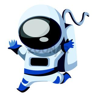 Happy running astronaut vecto illustration on white background.