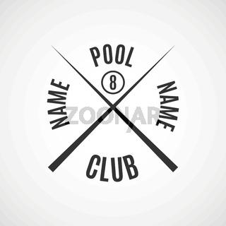 Emblem billiard club, vector illustration.