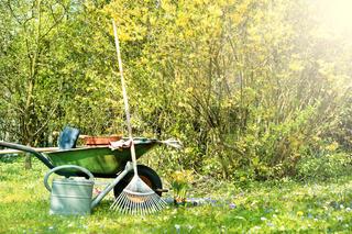 Frühling, Gartenarbeit, Schubkarre, Sonnenstrahlen, Textraum