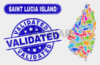 Production Saint Lucia Island Map and Distress Validated Stamp Seals