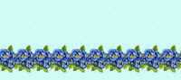 Strip of blue pansies and green leaves.