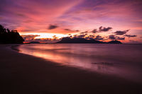 Beach sunset at Bako national park Borneo