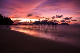 Beach sunset at Bako national park Borneo