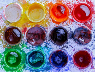 Used palette of children's watercolor paint