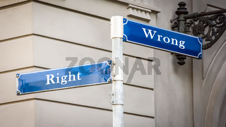 Street Sign to Right versus Wrong