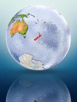 New Zealand on globe