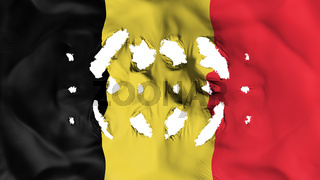 Belgium flag with a small holes