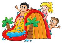 Kids on water slide theme image 1