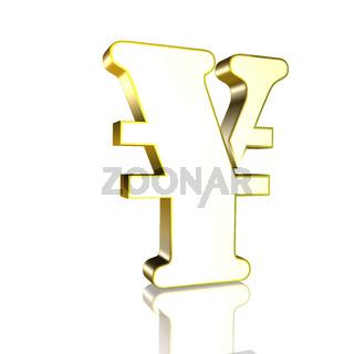 3D Illustrationen: 3D Yen Währungssymbol in Gold