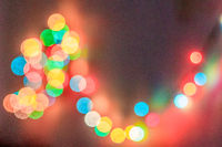 Bokeh from city lights at night. colorful bokeh. defocus garlands. new Year.