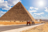 Carriage on the road near the Pyramid of Cheops, Giza, Egypt
