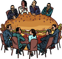 a group of people in a restaurant. Burger fast food