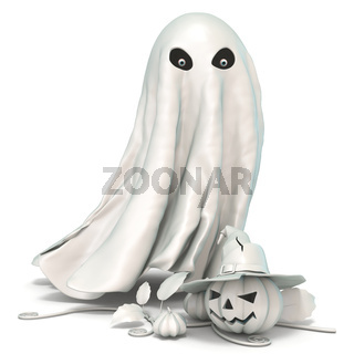 Ghost and Jack o Lantern with witch hat 3D