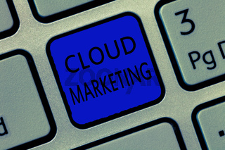Writing note showing Cloud Marketing. Business photo showcasing The process of an organisation to market their services