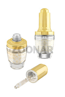 Moisturizing eye-care concealer serum with gold particles in luxury glass open and closed container with golden lid, isolated on white background, clipping path included