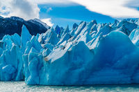 Beautiful blue Iceberg of Glacier Grey on Lake Grey at Torres del Paine National Park