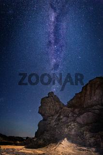Queen Victoria Rock under a sky full of stars