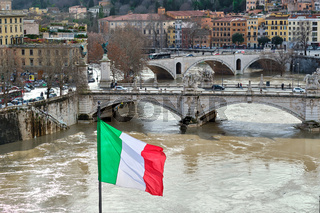 Tiber river and flag of Italy in Rome