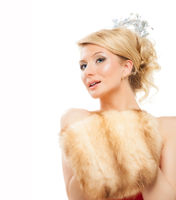 Beautiful woman in fashion Fur Coat, isolated on white background.