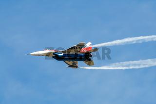 Airplane interceptor MIG at airshow.