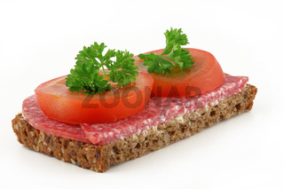 Wurstbrot, mit Tomate und Petersilie, bread with sausage and tomato with parsley