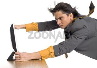 Man flying at computer