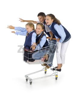 School team with trolley