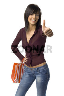 Happy woman with carrier bags