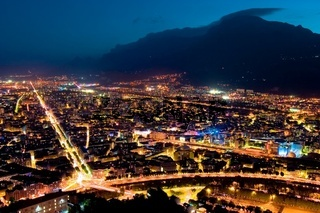 Panoramic view of Grenoble by night