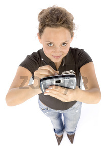 young woman with pocket computer or mobile phone