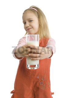 Girl is sharing glass of milk