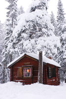 Cabin in snowy forest