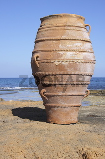 Amphora at the beach of Malia, Crete, Greece,