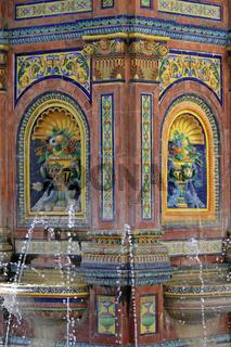 Brunnenplatz in Vejer. Andalusien