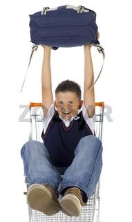 School boy in trolley