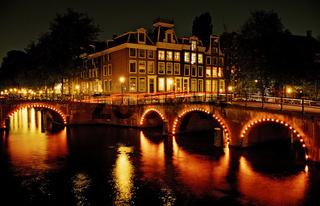 Keizersgracht bei Nacht, Amsterdam, Niederland, Holland