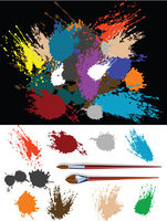 These are colorful splats silhouette and two brush