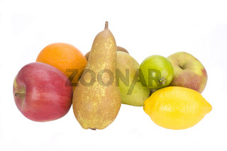 a collection of fresh fruits on white background