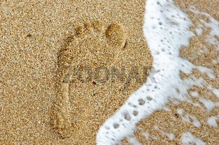 Foot step in sand