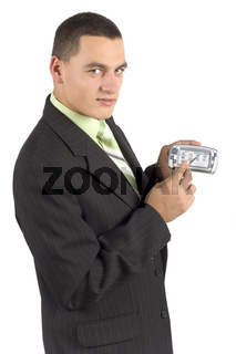 businessman with palmtop / mobile - showing