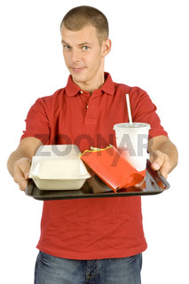 man with fast food tray